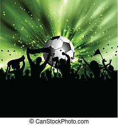 Football crowd - Silhouette of a football crowd on a...