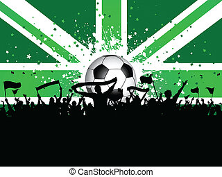 Football crowd with banners and flags on union jack