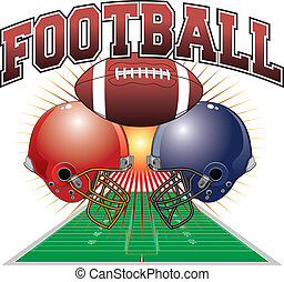 Illustration of a football design which includes a football, two football helmets and a football field in perspective with a sunburst background.