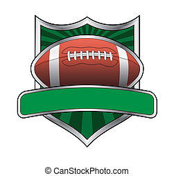 Football Design Shield Emblem - Illustration of a football...