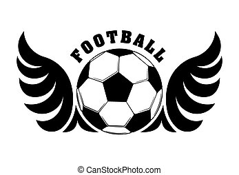 Football design with black and white wings and ball for emblem or logo
