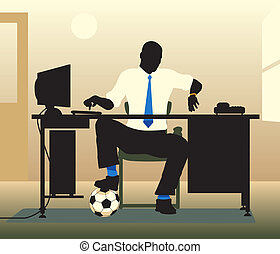 Football desk - Editable vector illustration of an office...