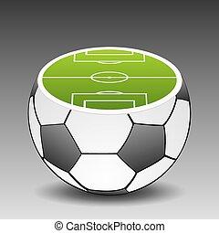 football, disposto, vettore, calcio, ball., suolo