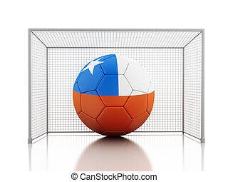 football, drapeau, balle, chili,  3D