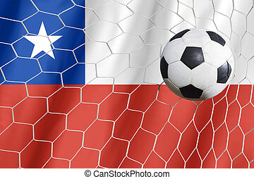 football, drapeau, balle, chili