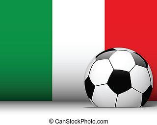 football, drapeau, balle, Italie, fond