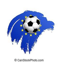football, drapeau, union, fond, balle, européen