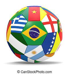 football, drapeaux, render, 3d