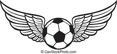 football, emblème, ailes, balle