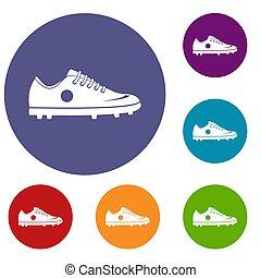 football, ensemble, chaussure, icônes