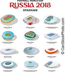 football, ensemble, coloré, stade