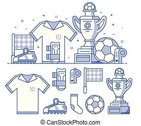 football, ensemble, football, icônes