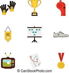 Football equipment icons set, flat style