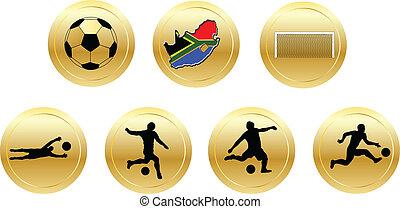 football, et, doré, fesses
