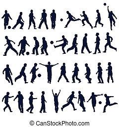 football, et, enfants, silhouettes