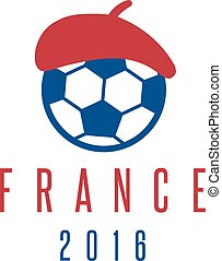 football european championship 2016 in France vector design template with beret and ball
