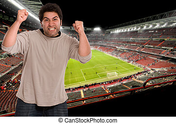 Football fan - Angry supporter at the soccer stadium