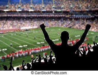 Football Fan Celebration - Fan celebrating a victory at a...