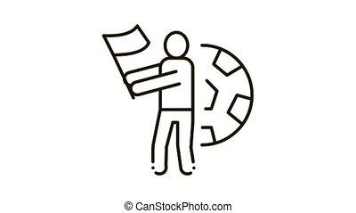 Football Fan Icon Animation. black Football Fan animated icon on white background