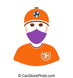 Football Fan With Covered Face By Scarf Icon