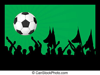 Football fans crowd and the ball
