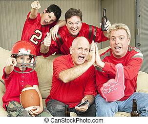 Football Fans Watch Superbowl - American football fans get...