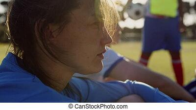 football, femme, joueur, field., 4k, séance