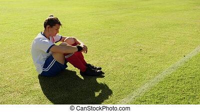 football, femme, joueur, field., séance