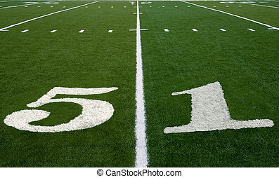 Football Field 51 Yard Line - Symbolizing Super Bowl 51 in...