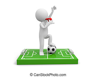 Football field - A 3d man Blowing his whistle on a football...