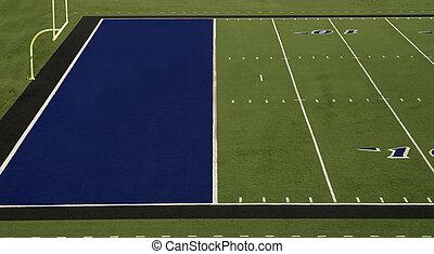 Football Field Blue End Zone