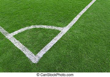 Football field corner green turf