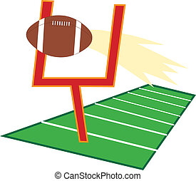 Football Field - Football going through a goalpost on a...
