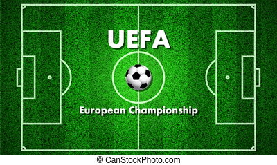 Football field for the UEFA European Championship, art video illustration.