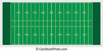 Illustration of a football field used in American type football.
