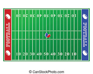 Football field - Illustration of a football field, with red...
