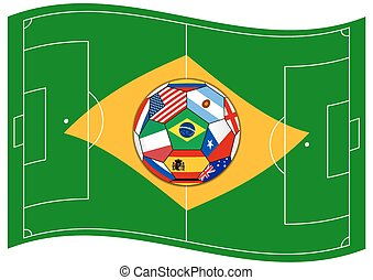 football field like Brazil flag