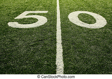 Football field - A shot of a 50 yardline at an american...