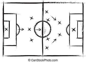 Football field. Vector drawing of a soccer. Grunge...