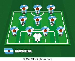 Football field with Argentina team lineup, lineups formation 4-3-3 on half football field.