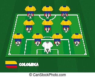 Football field with Colombia team lineup, lineups formation 4-3-3 on half football field.