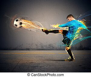Football fire - A football player throws fireballs at ...