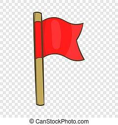 Football flag icon, cartoon style