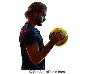 football, fond blanc, jeune, joueur, silhouette, ombre, isolé