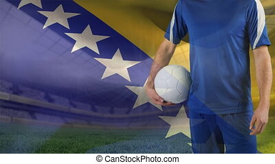 football, fond, jeu, contre, drapeau, bosnie