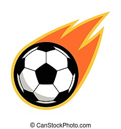 football football, brûler, voler, queue, comète, logo, sport