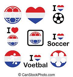 football, football, Hollandais, Amour, icônes