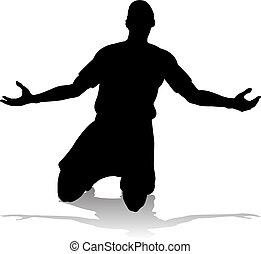 football football, joueur, silhouette