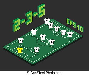 football, formation, isométrique, 2-3-5, field.