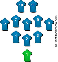 Football formation in blue design with green goalkeeper on...